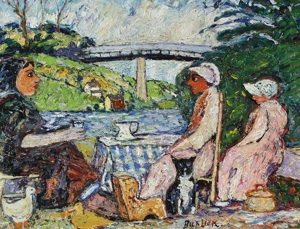 16: BURLIUK B1882 Russian American Oil Painting at Tea