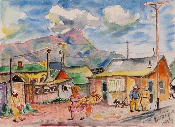 17: BURLIUK Russian Amer. Watercolor Painting Western