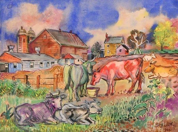 18: BURLIUK Russian Amer. Watercolor Painting Grazing