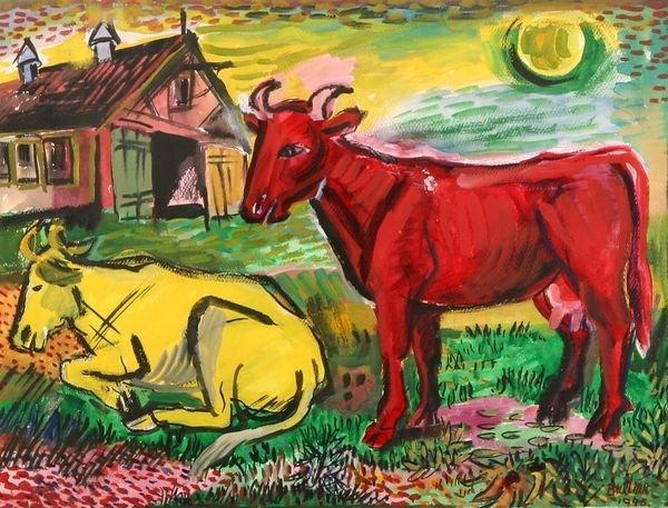 19: BURLIUK Russian American Watercolor Painting Cows