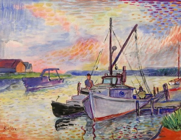 20: BURLIUK Russian American Watercolor Painting Boats