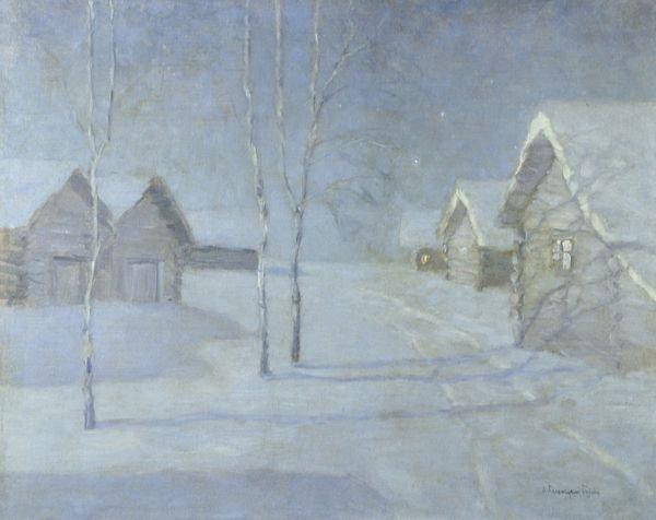21: BIALINITSKY-BIRULIA Russian Oil Painting Winter