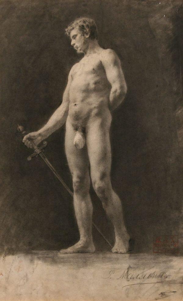 23: MALIAVIN B1869 Russian Drawing Male Nude 1893