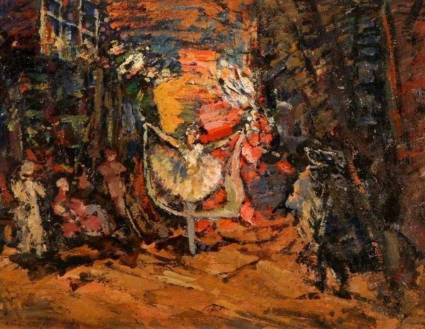 24: KOROVIN B1861 Russian Oil Painting Ballet 1903