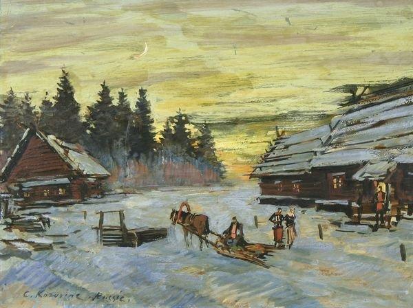 25: KOROVIN B1861 Russian Oil Painting Winter Village