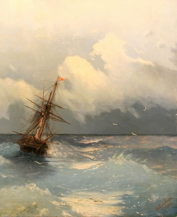 32: AIVAZOVSKY B1817 Russian Oil Painting Sea Manner