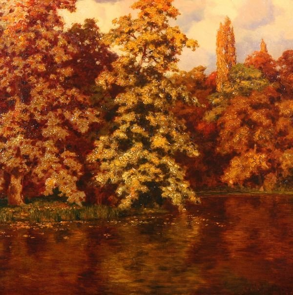 33: CHOULTSE B1877 Russian Oil Painting Autumn River