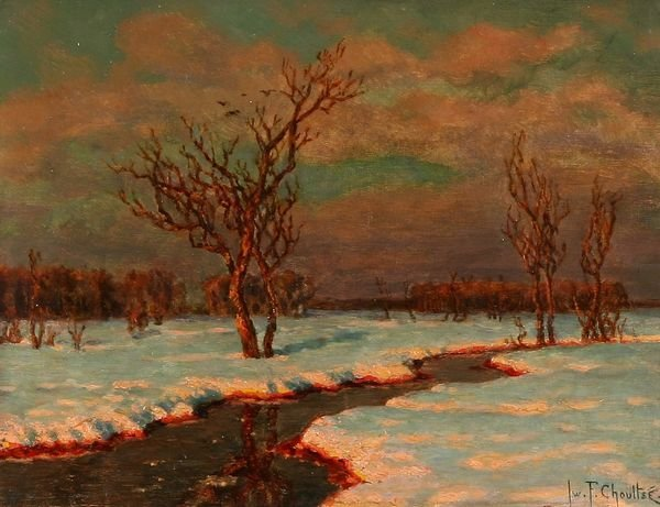 34: CHOULTSE B1877 Russian Oil Painting Winter River