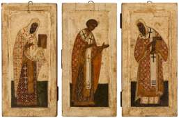 A GROUP OF THREE RUSSIAN ICONS OF ARCHBISHOPS LIKELY