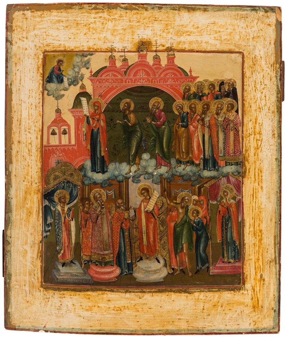 A RUSSIAN ICON OF THE POKROV MOTHER OF GOD, MOSCOW