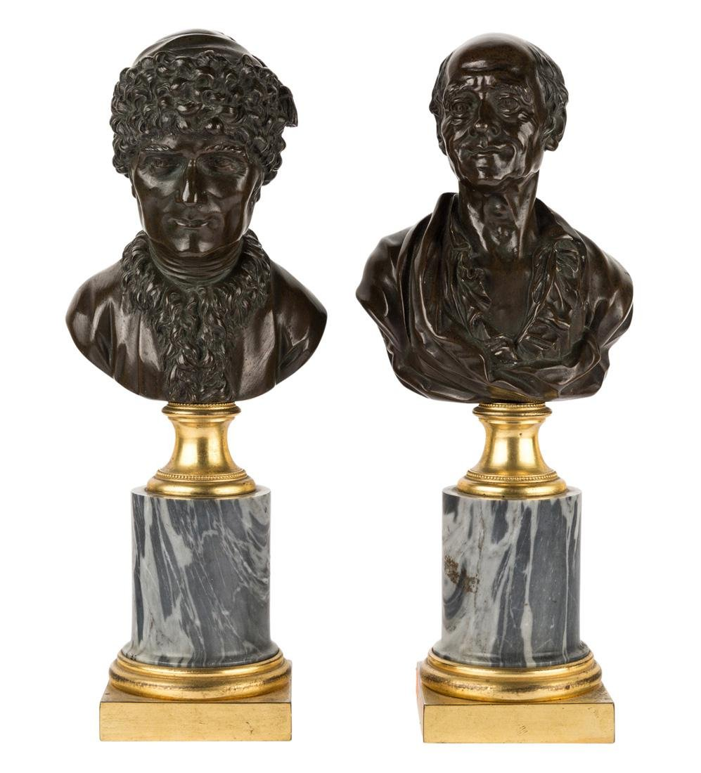 A PAIR OF FINE FRENCH BRONZE BUSTS OF ROUSSEAU AND