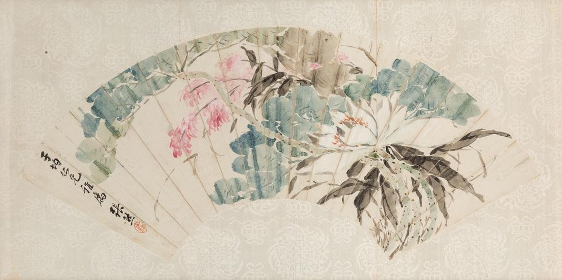 A CHINESE DECORATED FAN BY YHANG XING