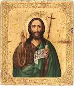 A RUSSIAN ICON OF SAINT JOHN THE FORERUNNER 19TH