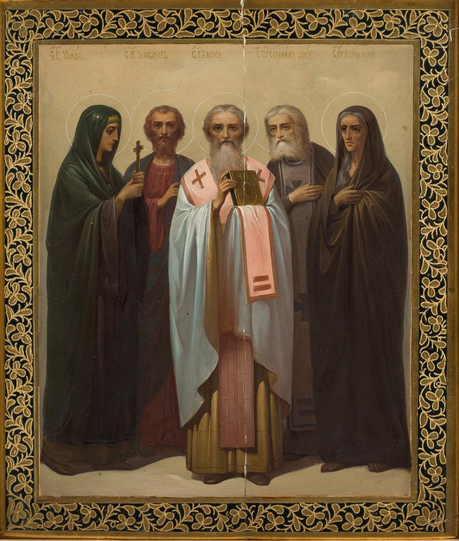 A RUSSIAN ICON OF SELECT SAINTS WITH KIOT, 19TH CENTURY