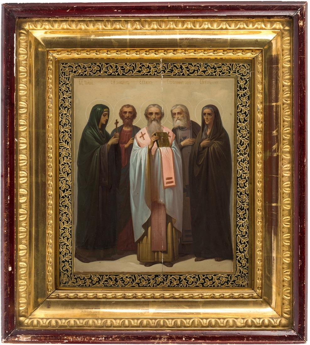 A RUSSIAN ICON OF SELECT SAINTS WITH KIOT, 19TH CENTURY - 2