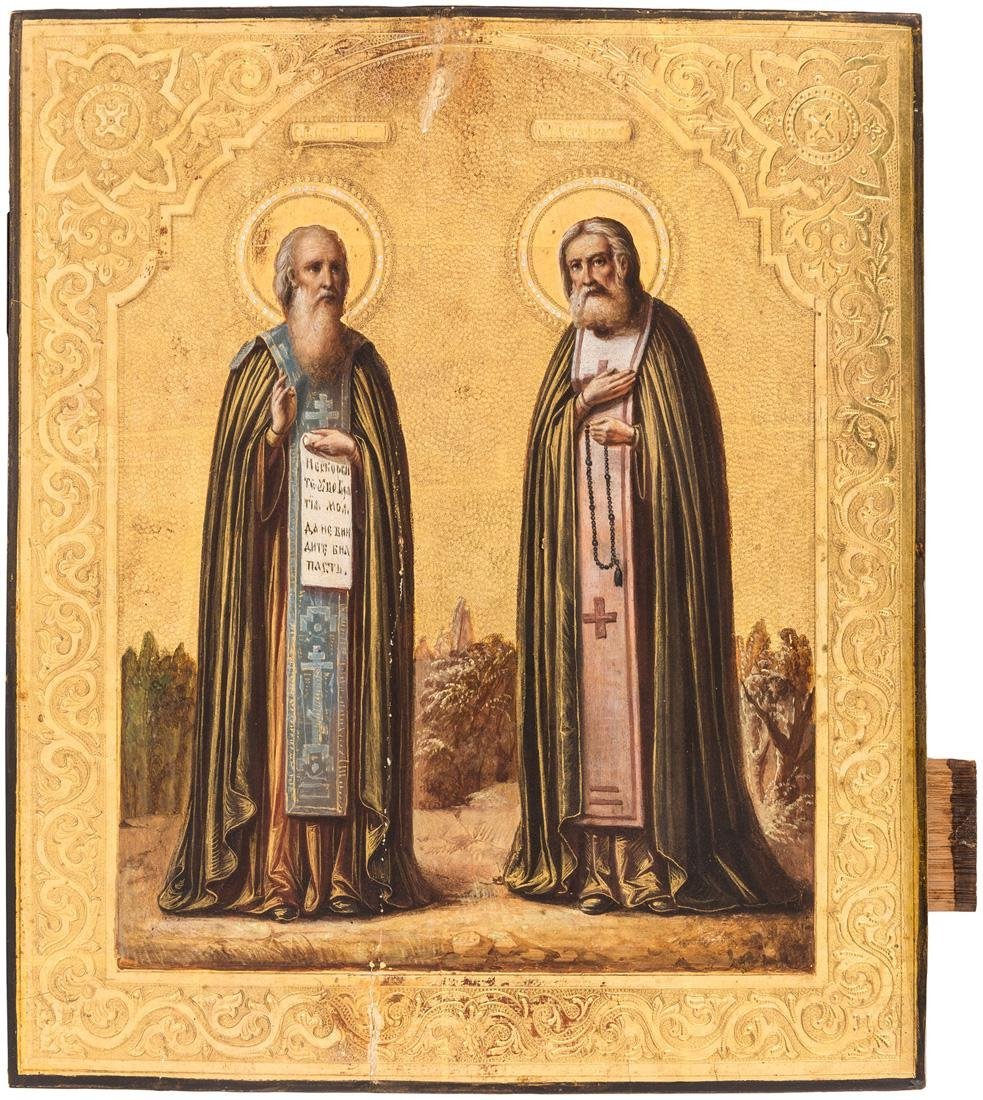 A RUSSIAN ICON OF SAINTS SERGIUS OF RADONEZH AND