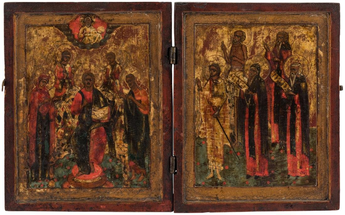 A RUSSIAN DYPTICH OF CHRIST PANTOCRATOR, 18TH CENTURY