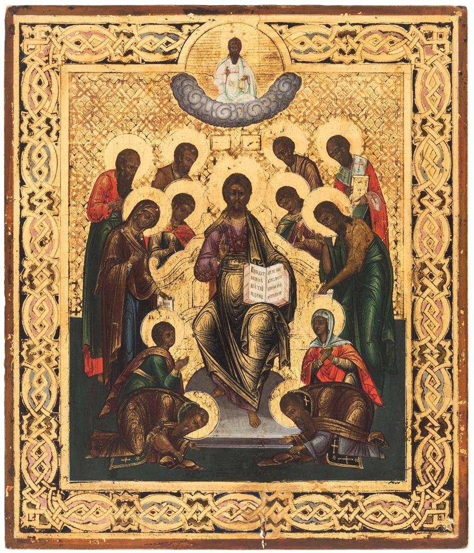 A RUSSIAN ICON OF CHRIST ENTHRONED WITH SELECT SAINTS,