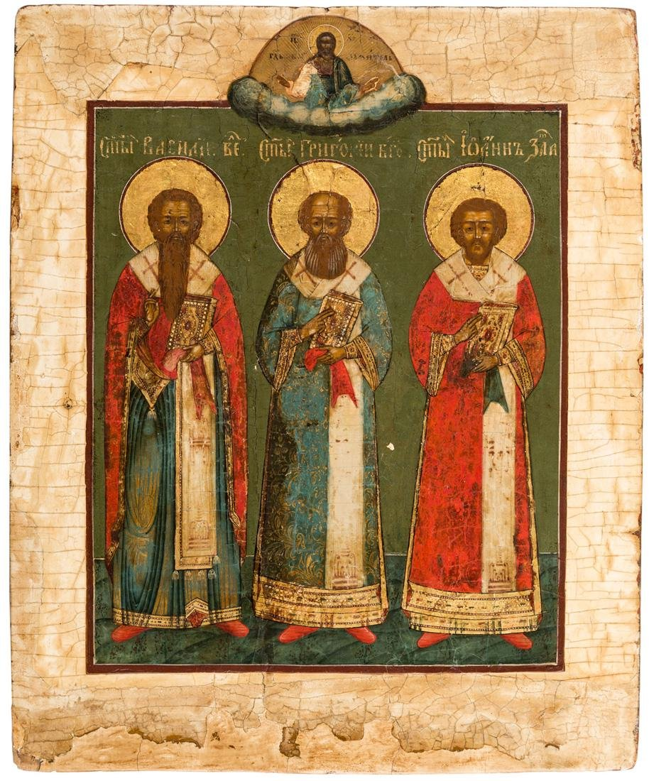 A RUSSIAN ICON OF THE THREE HOLY HIERARCHS, 19TH