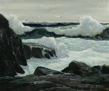 176: ANTHONY THIEME Oil Painting w Newcomb Macklin Frm