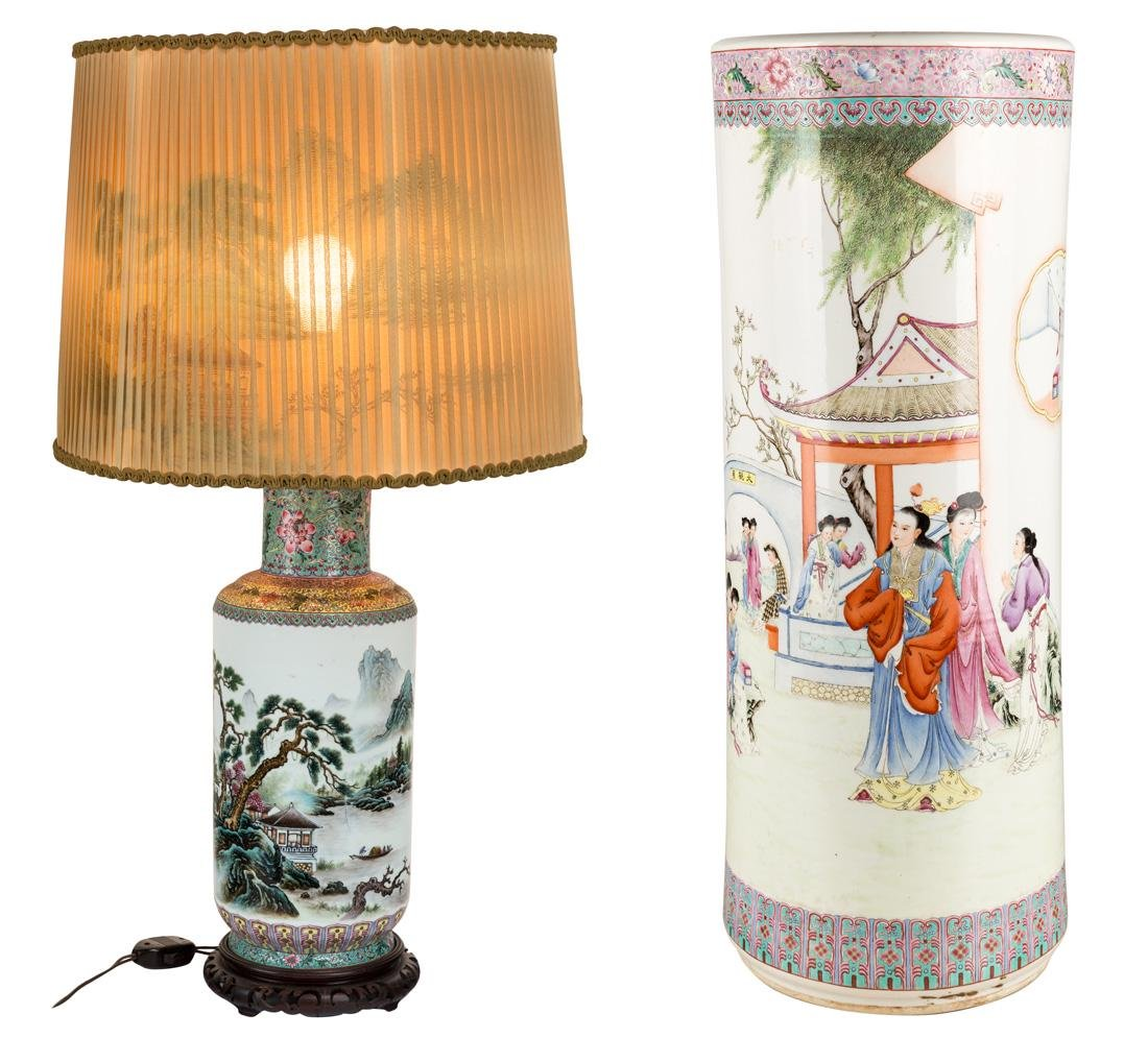 A CHINESE PORCELAIN LAMP AND UMBRELLA STAND (REPUBLIC