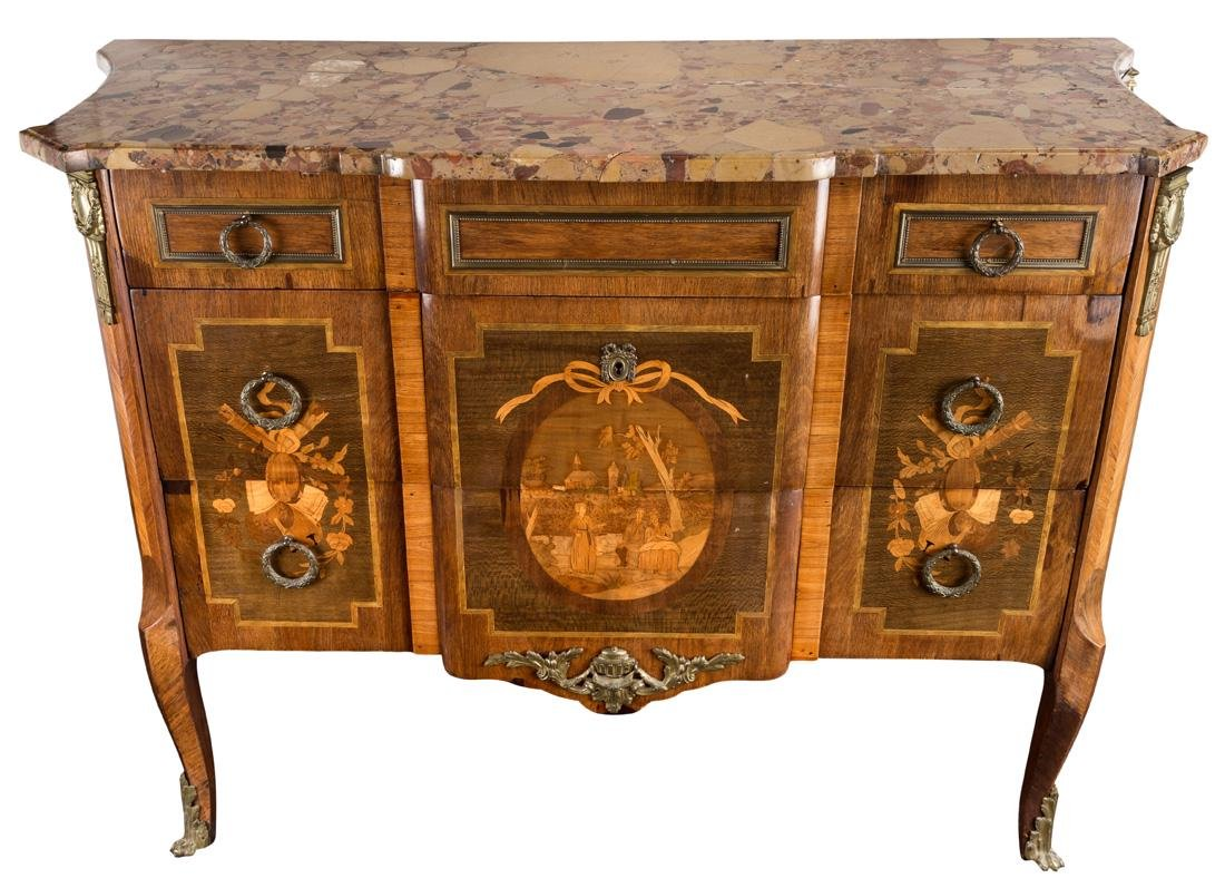 A 19TH CENTURY FRENCH MARQUETRY COMMODE WITH MARBLE TOP