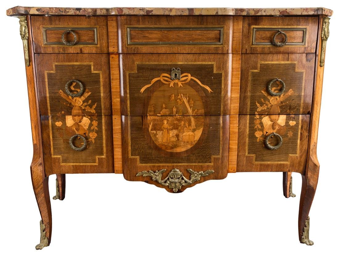 A 19TH CENTURY FRENCH MARQUETRY COMMODE WITH MARBLE TOP - 2