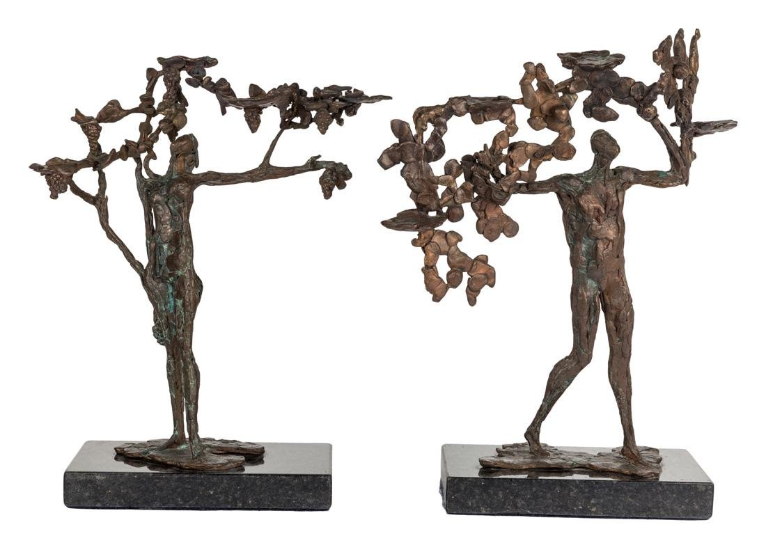 A PAIR OF BRONZE SCULPTURES BY ANTONIO PUJIA