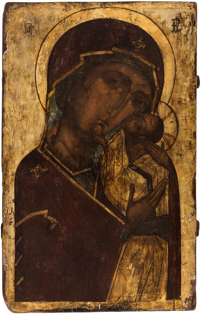A RUSSIAN ICON OF THE VIRGIN OF TENDERNESS [ELEUSA],