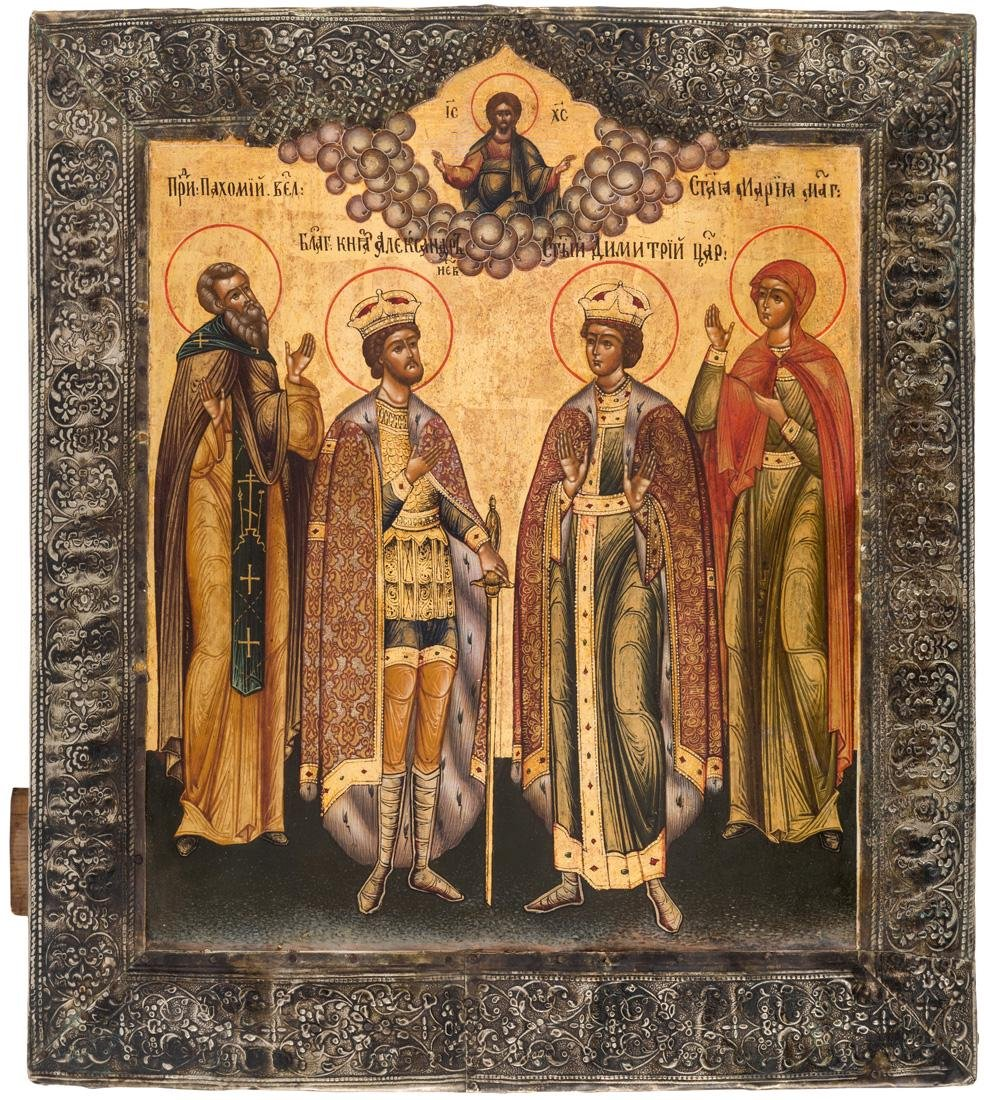 A RUSSIAN ICON WITH FOUR SAINTS IN A BASMA OKLAD,
