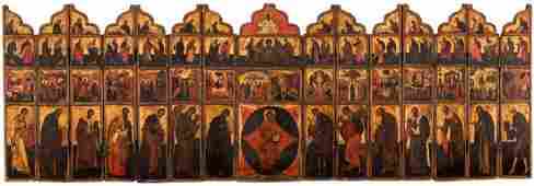 A RUSSIAN PORTABLE ICONOSTASIS MOSCOW SCHOOL EARLY