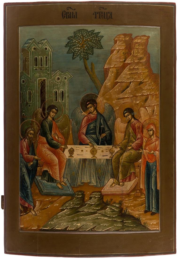 A LARGE RUSSIAN ICON OF THE OLD TESTAMENT TRINITY,