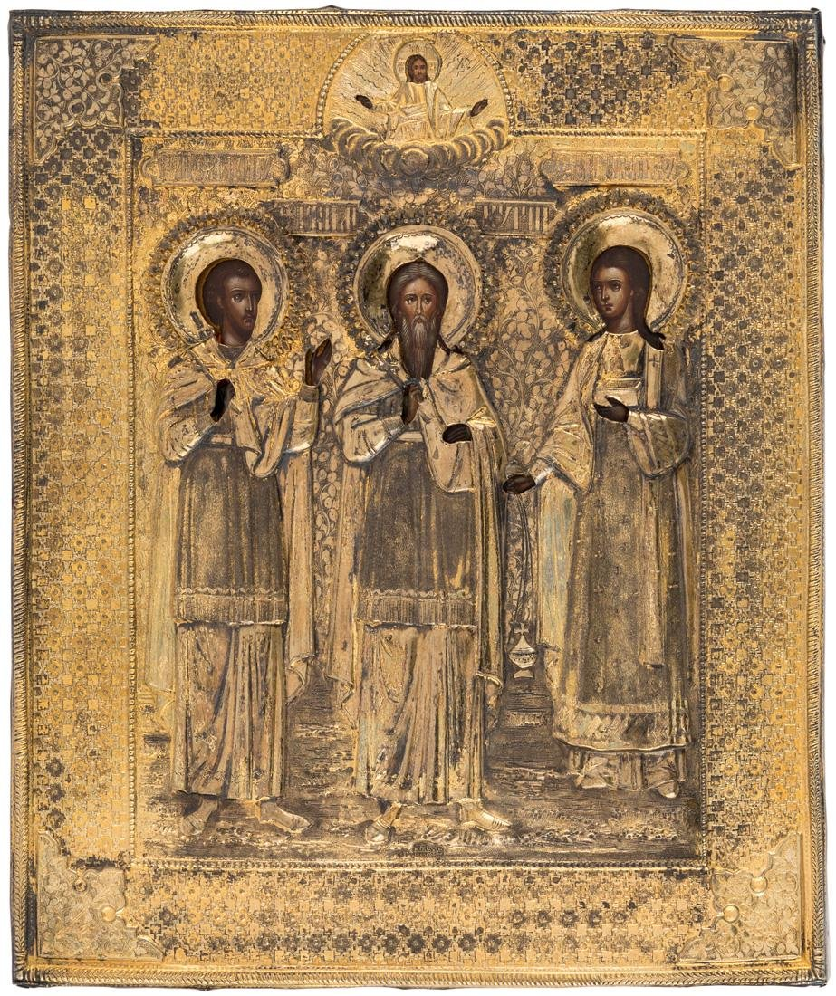 A RUSSIAN ICON OF THE HOLY MARTYRS SAMON, GURIY AND