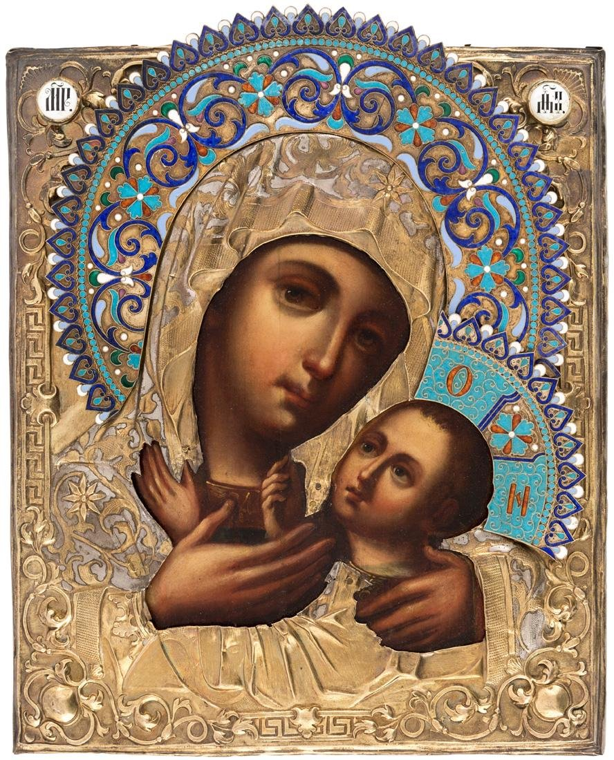 A RUSSIAN ICON OF THE VIRGIN OF TENDERNESS [ELEUSA] IN