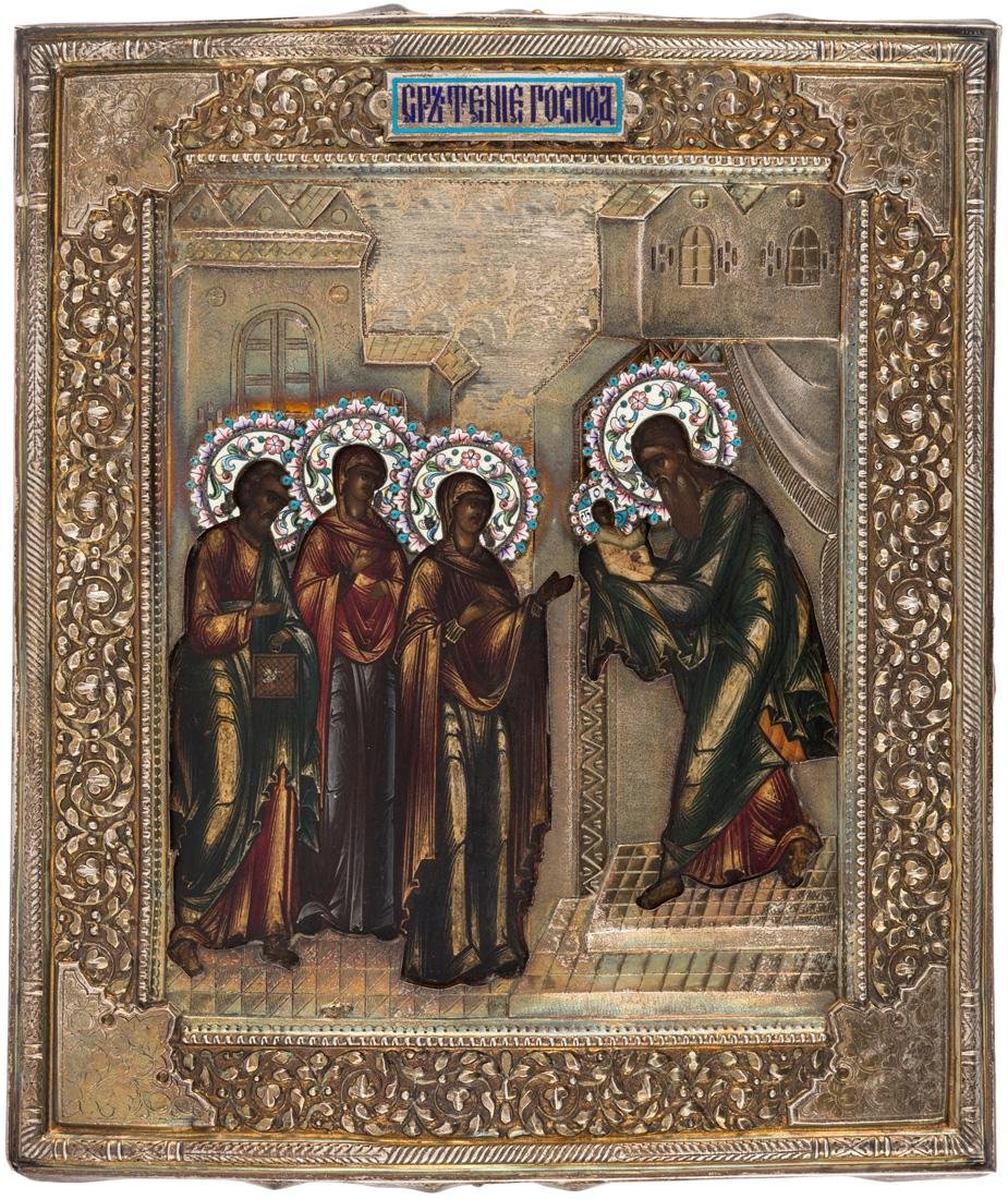 A RUSSIAN ICON OF THE PRESENTATION OF CHRIST [SRETENIE]