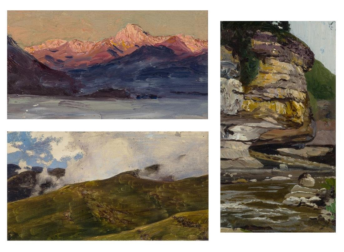 A GROUP OF 3 LANDSCAPE PAINTINGS BY NIKOLAI