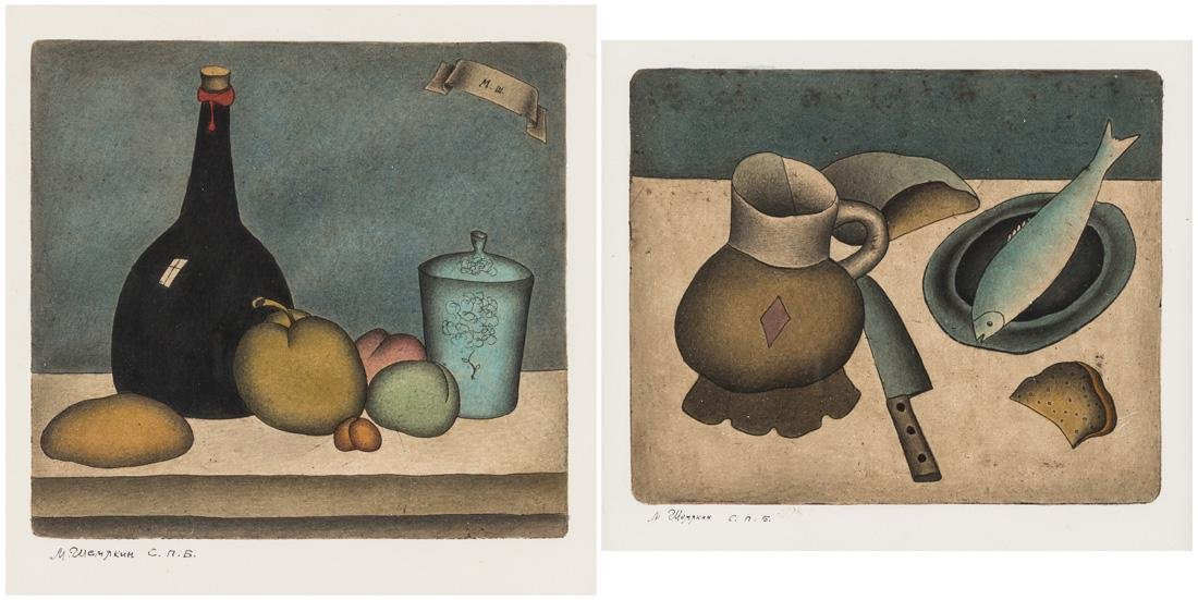 PAIR OF HAND-COLORED ETCHINGS BY MIKHAIL CHEMIAKIN