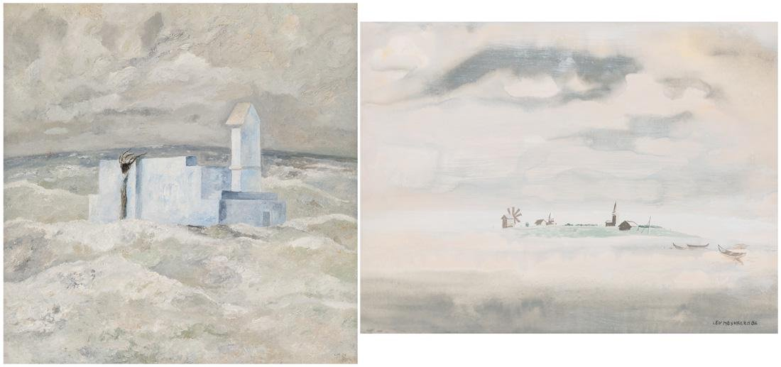 A PAIR OF PAINTINGS BY LEV MESHBERG (RUSSIAN 1933-2007)