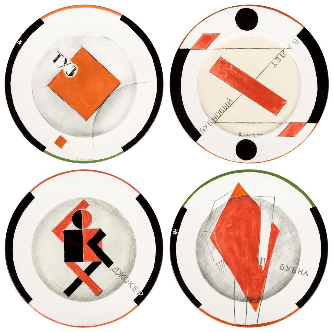A GROUP OF FOUR PORCELAIN PLATES BY VLADIMIR NEMUKHIN