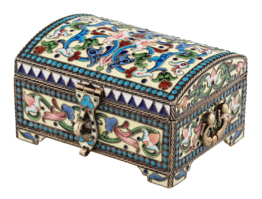 A RUSSIAN SILVER GILT AND FILIGREE ENAMEL CHEST,