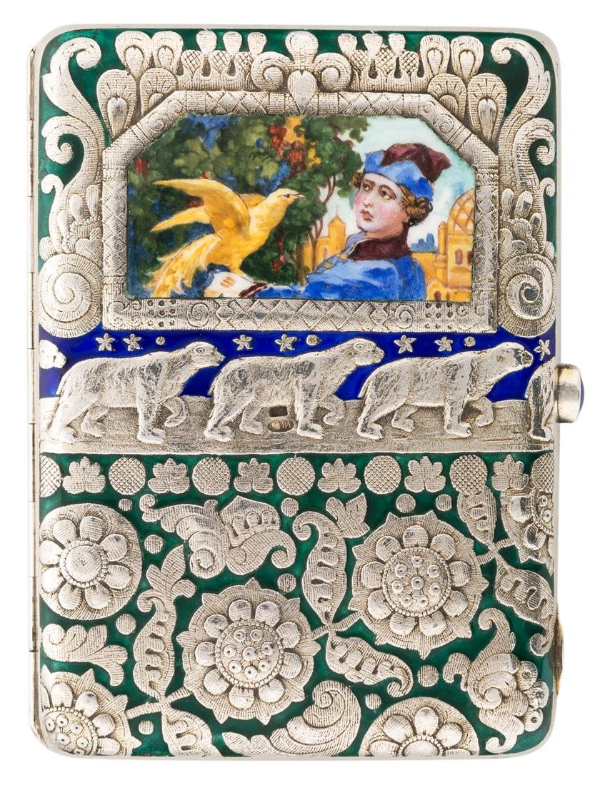 A RUSSIAN GILDED SILVER AND ENAMEL CIGARETTE CASE,