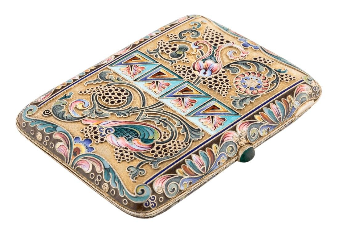 RUSSIAN GILDED SILVER AND SHADED ENAMEL CIGARETTE CASE