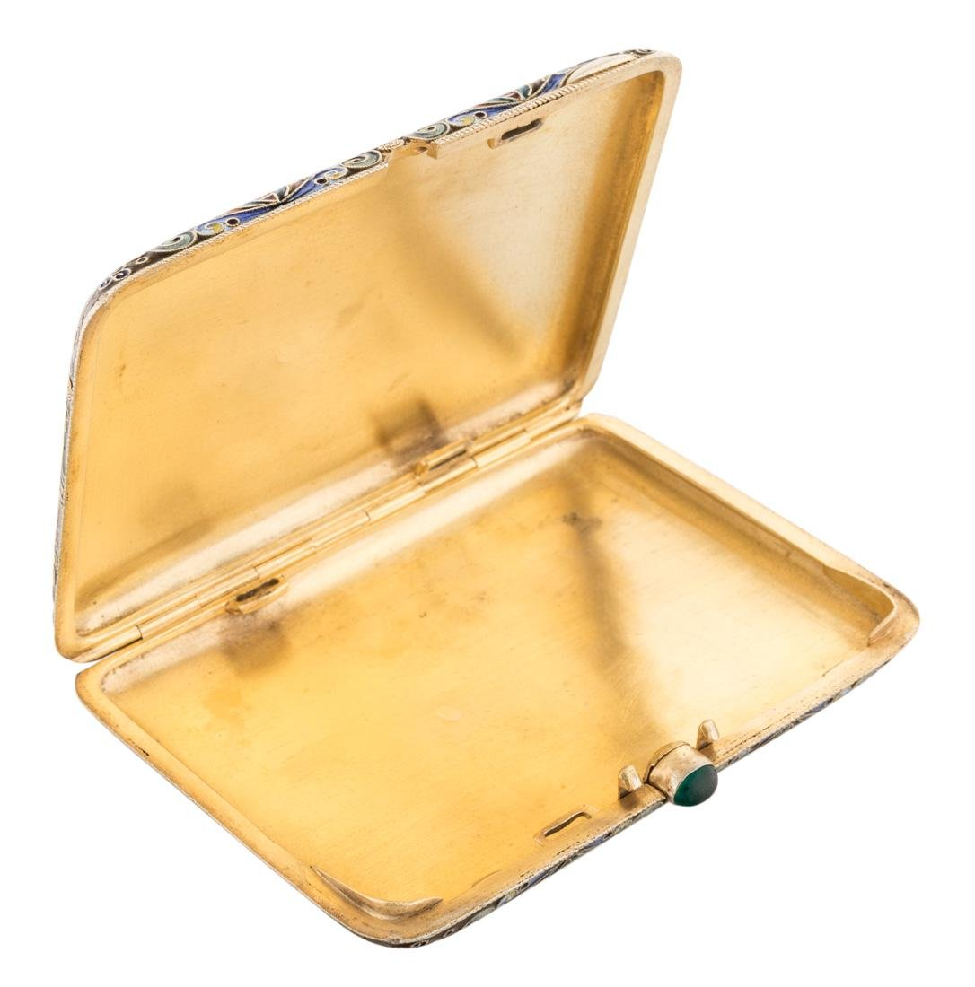 RUSSIAN GILDED SILVER AND SHADED ENAMEL CIGARETTE CASE - 2
