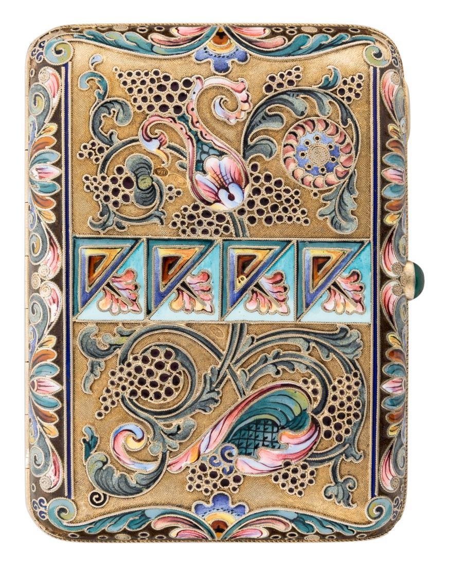 RUSSIAN GILDED SILVER AND SHADED ENAMEL CIGARETTE CASE - 3