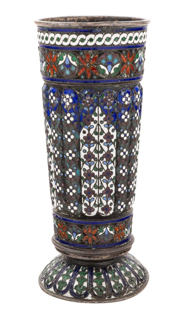 A RUSSIAN SILVER AND SHADED ENAMEL BEAKER, WORKMASTER