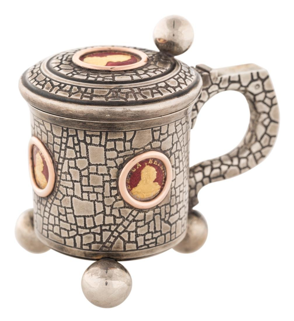 A FABERGE SILVER, GOLD AND ENAMEL TANKARD, MICHAEL