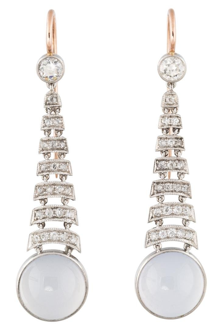 A PAIR OF MOONSTONE, PLATINUM AND DIAMOND EARRINGS,