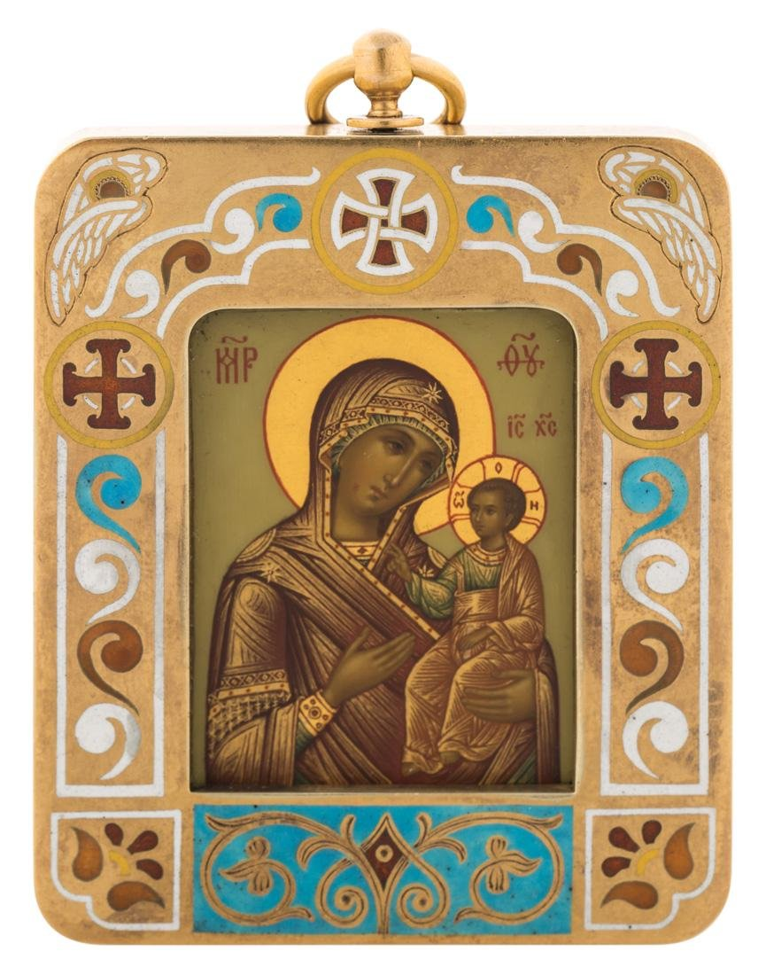 A FABERGE GOLD AND ENAMEL RUSSIAN ICON OF THE MOTHER OF