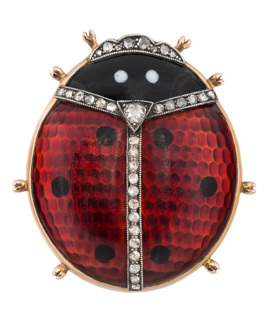 A FABERGE RED GUILLOCHE ENAMEL AND DIAMOND LADYBUG
