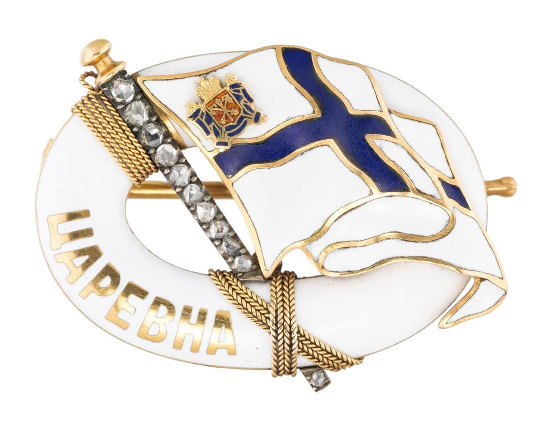 A FABERGE GOLD, ENAMEL AND DIAMOND `TSAREVNA` BROOCH,